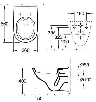 подвесной унитаз Villeroy Boch Novo 5660H101 схема